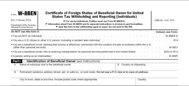 Зачем нужна налоговая форма W-8BEN и как ее заполнить